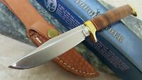 Rough Rider Small Game Skinner Hunter Stacked Leather Handle Fixed Blade Knife