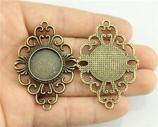 10pcs fit 18mm Cameo Cabochon Bronze Color Round Base Setting Bracelet Connector