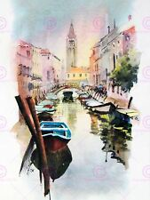 PAINTING WATERCOLOUR CITYSCAPE VENICE CANAL CHURCH ART PRINT POSTER MP5496A
