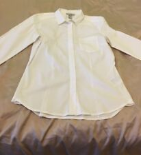 H & M WHITE FITTED LONG SLEEVED FRONT POCKETS SMALL SIZE 10