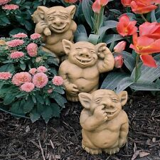 Gothic Trolls Gargoyles Garden Sculptures Set of 3 Nose Ear Butt Picking Gnomes