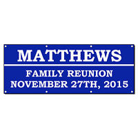FAMILY REUNION WELCOME CUSTOM PERSONALIZED Banner Sign 2' x 4' w/ 4 Grommets