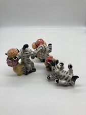 Fitz and Floyd Tumbling Zebra Flower Pot Collections Vintage Whimsical Set of 3