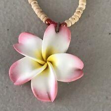"2 X 16""in Hawaiian Light Pink Coconut Plumeria Fimo Flower Necklace Hawaii"