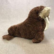"""Sea World Walrus Plushie Theme Park Souvenir Plush Toy Sea Mammal Brown 16"""" Long"""