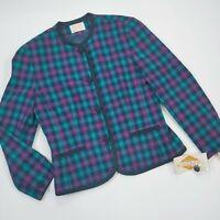 NEW* Vintage PENDLETON Wool Plaid Blazer Sweater Jacket Womens Sz.8, MSRP $178