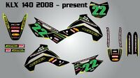 Kawasaki KLX 140 2008 - 2014 / stickers decals Full custom graphics kit for