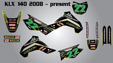 Kawasaki KLX 140 2008 - 2014 / stickers decals Full custom graphics kit for