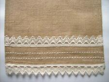 "ABIGAIL Jute Burlap 36"" Table Runner With Cream Lace Border On Each End"