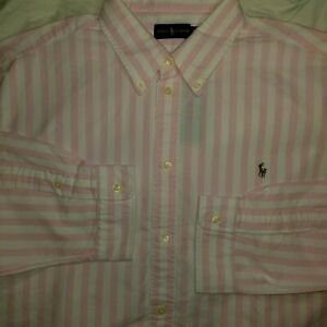 Polo Ralph Lauren Womens Pink White Stripe Button Down Shirt XL NWT