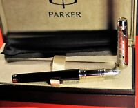 """""""PARKER""""  PREMIER CUSTOM BLACK ST 18k WHITE GOLD """"M"""" NIB FOUNTAIN PEN  NEW!"""