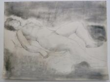 Young Nude Woman Sleeping- One Hand Raised-18 x 24 Drawing-1955-August Mosca