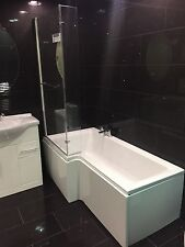 Modern 1700 L Shaped Shower Bath With 6mm Screen,And Panel
