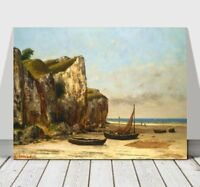 """GUSTAVE COURBET - Normandy Beach & Boats - CANVAS ART PRINT POSTER - 24x16"""""""