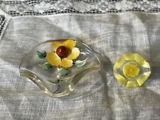 New listing Vintage Lucite Buttons Hand Painted & Yellow Small Button 127-30