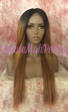 100% HUMAN HAIR BLEND OMBRÉ STRAIGHT MIDDLE PART LACE FRONT WIG
