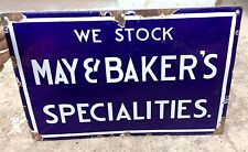 1930's VINTAGE SCARCE MAY & BAKER SPECIALITIES PORCELAIN ENAMEL SIGN BOARD,USA