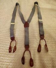 Vintage CAS Men's Suspenders Gray Gold Hardware w/ Burgundy Leather Straps