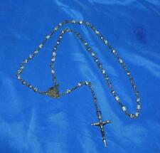 "VTG ROSARY - TINY FACETED GRAY ONYX BEADS, AVE MARIA, 16"" DROP, GORGEOUS PATINA"