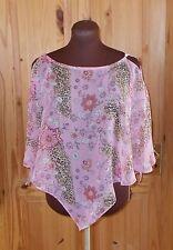 PER UNA pink leopard print white floral chiffon kaftan tunic top shawl S 10-12