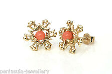 9ct Gold Coral Snowflake Stud earrings Made in UK Gift Boxed