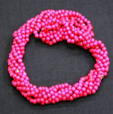 Twist A Beads Genuine 1980's Original Necklace 32-35 inch strands -HOT PINK WOOD