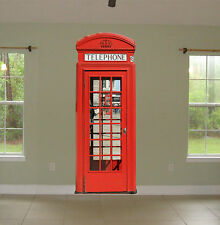 "Red English Phone Booth Repositionable Large Wall Graphic (34""Wx88""H) USA Seller"