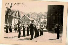Vintage Antique Photograph Marching Band in Uniforms Marching in Parade