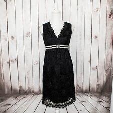 ANNA SUI Women's Vneck Empire Waist Dress Black Lace Layered Sleeveless Sz 4