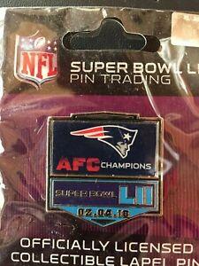 SUPER BOWL LII 52 AFC CHAMPIONS PIN NEW ENGLAND PATRIOTS NFL FOOTBALL