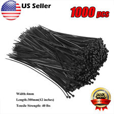 "1000X 40 lbs 12"" Nylon Plastic Zip Trim Wrap Cable Loop Ties Wire Self Lock US V"