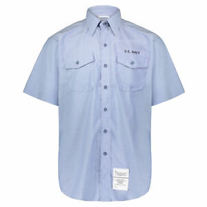 Men's Chambray DSCP U.S. Navy Lite Blue Short Sleeve Utility Work Shirt with Tag