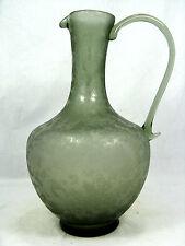 Formschöne alte geätzte Glaskaraffe / well shaped glass decanter etched glass