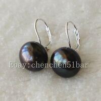 kultivierte große 13-14mm schwarze Süßwasserperlen 925 Silber Brisur Ohrringe