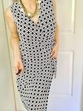 JANE LAMERTON WOMENS DRESS LINED STRETCHY PRINTED ZIP BLUE WHITE Wrap Look SZ 16