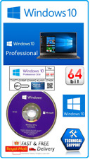 Microsoft Windows 10 Pro Professional 64Bit DVD Drive & License Key