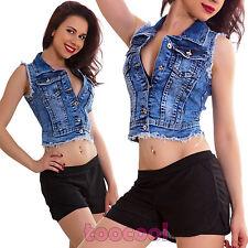 Gilet donna jeans giubbotto smanicato corto bottoni strappi sexy nuovo JS8009