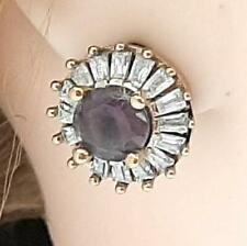 Deco 4.50ct Amethyst Diamond Cut/Baguette Sapphire 14K Yellow Gold 925 Earrings