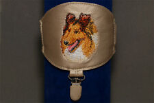 Sheltie arm band ring number holder with clip. Dog show accessories.