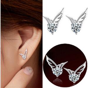 Women/Girls 925 Sterling Silver Crystal Butterfly/Angel Wings Stud Earrings Gift