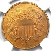 1866 Two Cent Coin 2C - NGC Uncirculated Detail (MS UNC) - Rare Certified Coin!