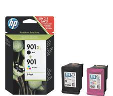 2X GENUINE CARTRIDGES HP 901XL BLACK + 901 COLOUR J4660 J4680 G510A FAST POSTAGE
