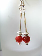 Red Agate Costume Earrings