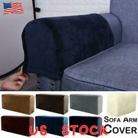 Soft Velvet Stretch Armrest Covers Sofa Chair Arm Couch Protectors Home Decor US
