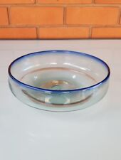 HAND BLOWN GLASS BOWL WITH BLUE RIM - MADE FROM RECYCLED GLASS IN MEXICO.