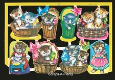Mamelok English Scrap Die Cut - Adorable Colorful Valentine Cats / Kittens  1593