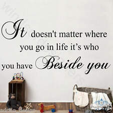 It doesn't matter... BESIDE YOU Large wall art sticker decor design QUOTE