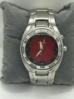 Fossil AM3847 Women's Watch Red Dial Analog Stainless Steel Mineral Window C208