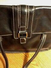 Fossil leather ladies black shoulder handbag