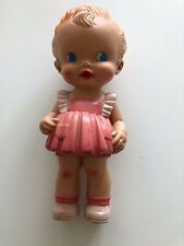 Vintage Rubber Doll Ruth E. Newton Sun Rubber Co. Girl Wearing Pink Ruffle Dress